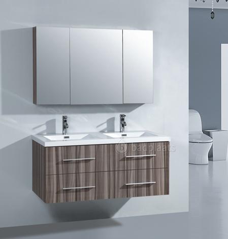 Trendy badkamermeubel Miami heeft 2 wasbakken in de wastafel (123cm). Uitgevoerd met spiegelkast.