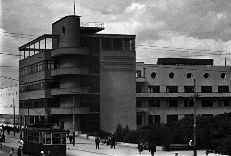 Baku constructivism, 1938. Palace of the Press Azerneshr building, by architect S. Pen. Baku, Azerbaidjan
