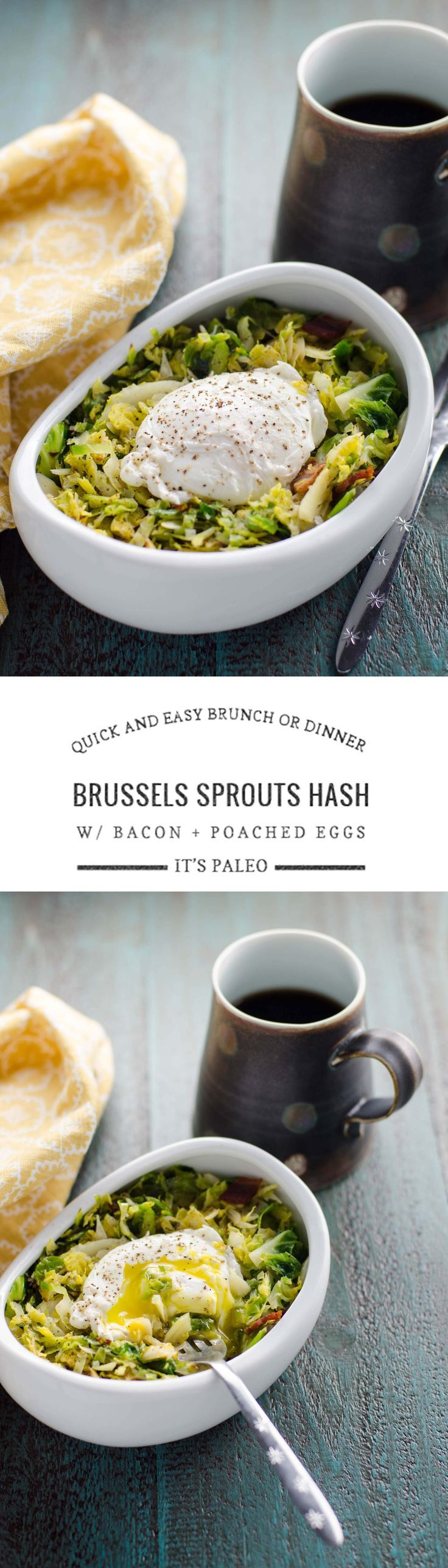 This quick and easy Brussels sprouts hash with bacon and poached eggs makes an equally good breakfast, lunch or dinner. Gluten-free, grain-free and paleo.