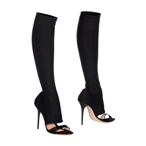 Gianmarco Lorenzi Boots ($365) ❤ liked on Polyvore featuring shoes, boots, black, black shoes, kohl shoes, black round toe boots, elastic shoes and gianmarco lorenzi