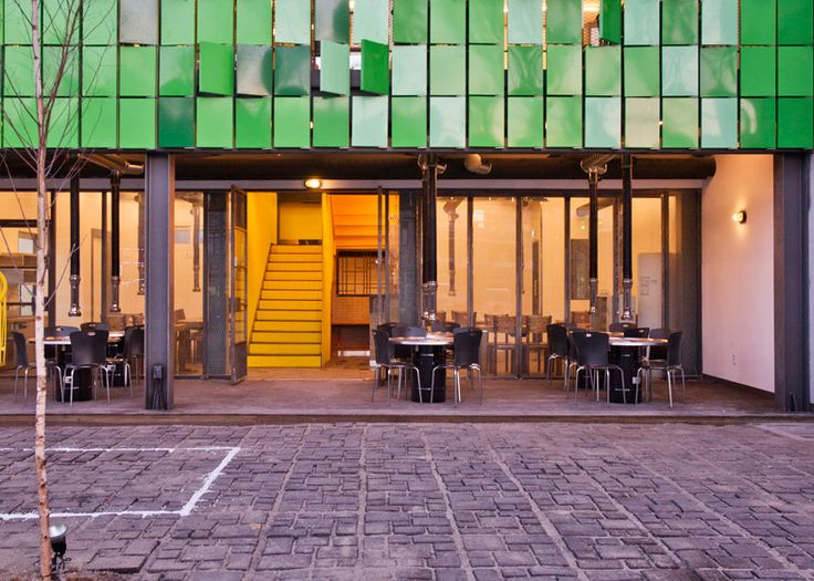 JYA-rchitects clads restaurant facade in rotating green panels
