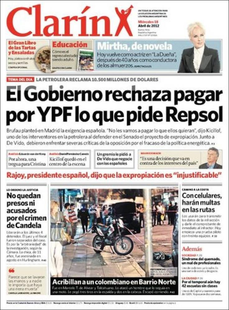 Portadas de los periódicos de Argentina y España del 18 de abril 2012 – Repsol-YPF