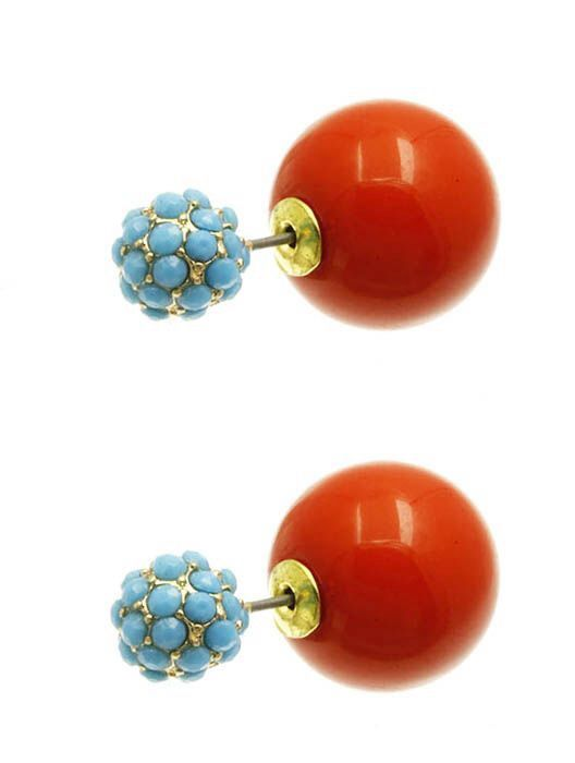 CELEBRITY AND BLOGGER FAVORITE! Beaded Ball Earrings:: Coral/Turquoise $15.00 with FAST, FREE SHIPPING