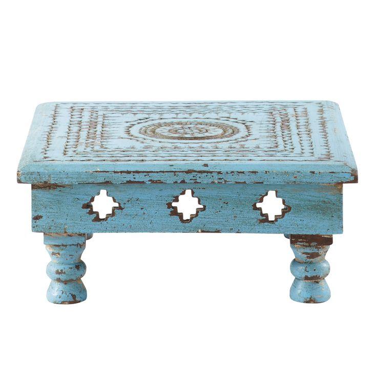 Table bois sculpté bleu Atul - H 13 x L 33 x PR 33 - Bois sculpté à la main finition bleue usée. Composition : Bois