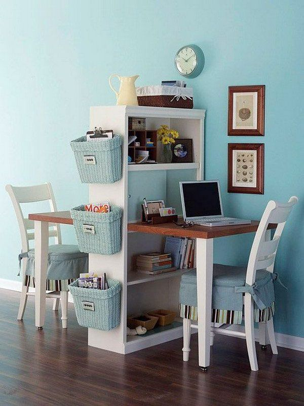 15 Furniture makeover ideas for kids including this Bookcase into a Homework Station for Kids
