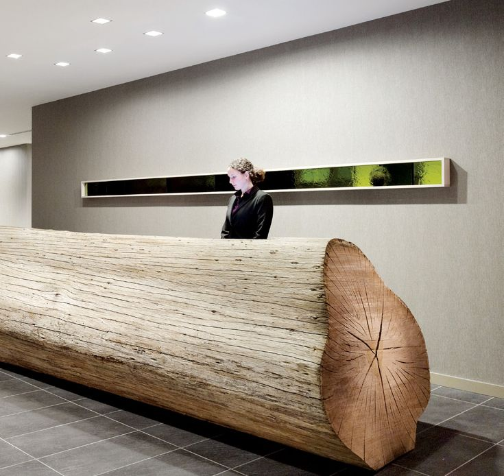 The reception  desk of this hotel is a 25-foot-long,  naturally weathered eucalyptus  log (Odada)