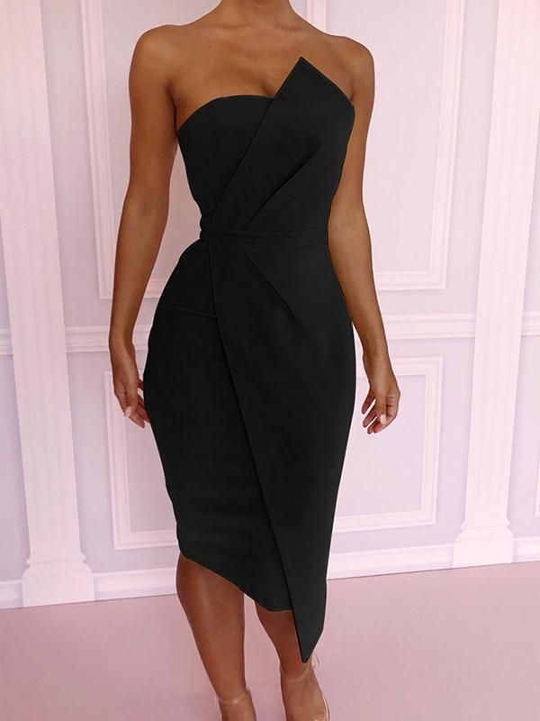Strapless Backless Sexy Elegant Bodycon Medium Dress Evening Dress