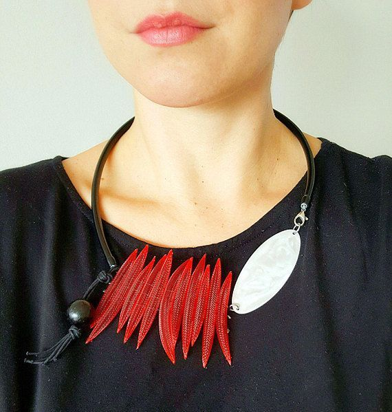 Contemporary jewelry Bib statement necklace Red necklace