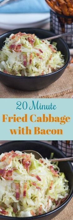 Simple Sides: 20 Minute Fried Cabbage with Bacon. Fried cabbage with bacon is a truly simple side dish that almost cooks itself, allowing you to get on with the rest of the meal. Ready in 20 minutes, fried cabbage pairs well with almost everything, so how can you afford not to add this versatile dish to your culinary arsenal today. #friedcabbage #friedcabbageandbacon #thecookspyjamas #healthy #recipes #easy #paleo #glutenfree #bacon