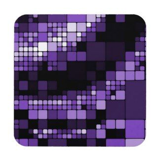 Contemporary Purple Digital Squares Pattern Coaster