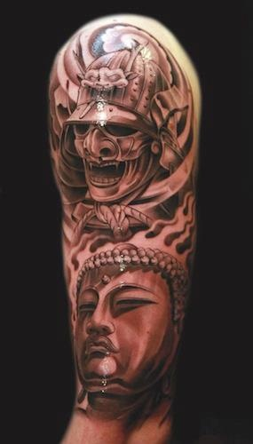samurai and buddha sleeve tattoo cool tattoos