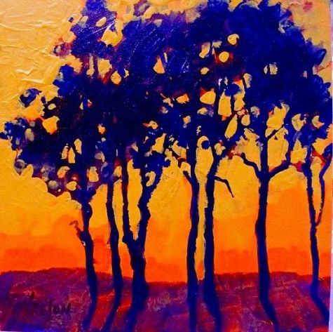 Colorful Contemporary Landscape Tree Art Painting Sunset Trees by Colorado Mixed Media Abstract Artist Carol Nelson, painting by artist Carol Nelson