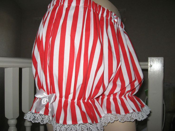 NEW Goth,Lolita,Rock,Red,White Stripes Lace Sissy Short Bloomers,Pantalooms,Gift