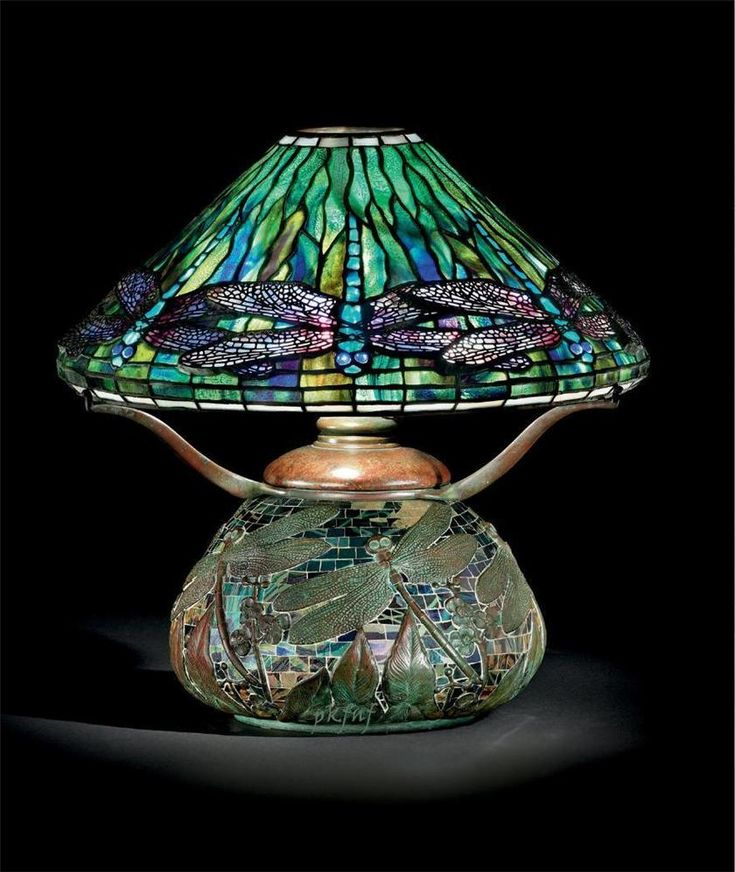 A Dragonfly Leaded Glass, Bronze And Mosaic Table Lamp, Circa Shade Stamped  Tiffany Studios New York.