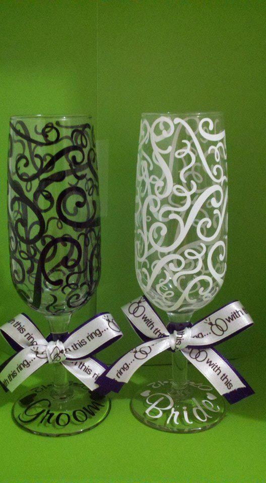 Personalized Bride and Groom Champagne Flutes