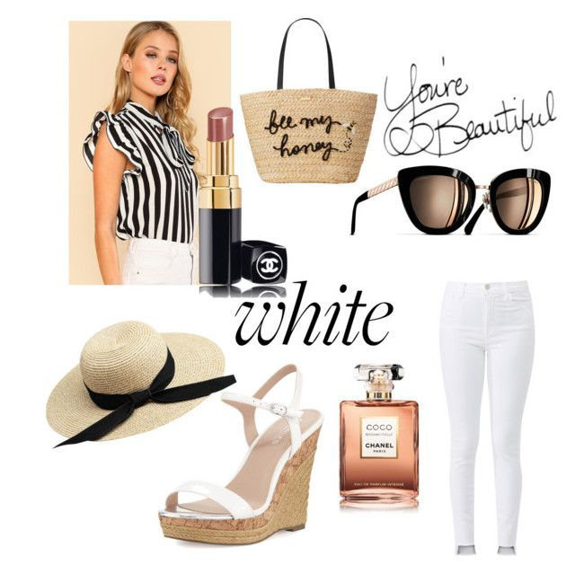 """White sunnyday"" by kaoutar-rayour on Polyvore featuring J Brand, Chanel, Charles by Charles David, Kate Spade, Sunshine and whiteoutfit"