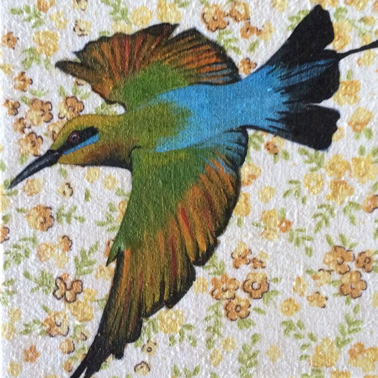 Bee eater by Mandy Tootell. Gouache on fabric. Katherine, Northern Territory, Australia.