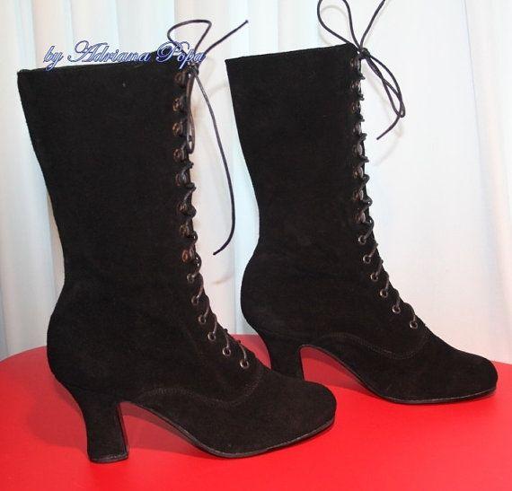 Enkel laarzen zwart Victoriaanse laarzen Edwardian laarzen zwart Victoriaanse schoenen enkellaars ook voor bredere voeten en sterke kalf