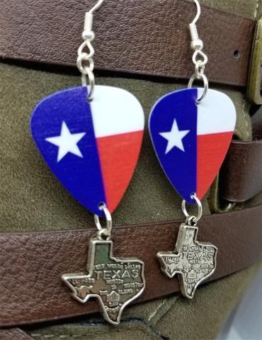 c67a8bab9 Texas State Flag Guitar Pick Earrings with Texas Charm Dangles –  SimplyRaevyn