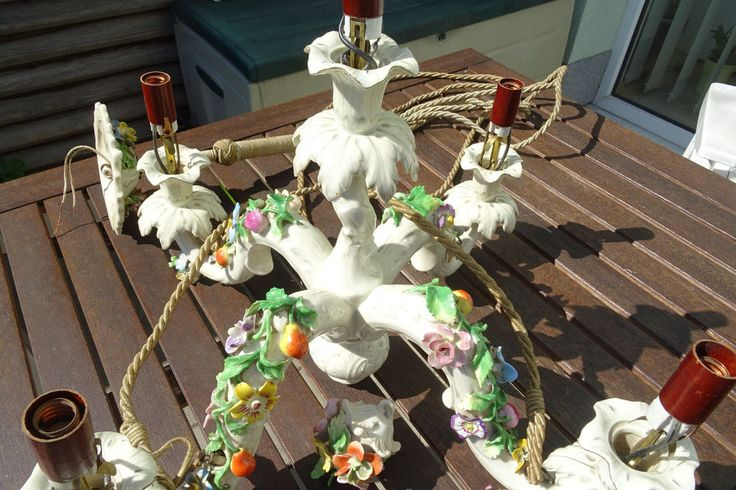 Sächsische Porzellan Manufaktur Pottschappel Carl Thieme Lüster Blumen Dresden