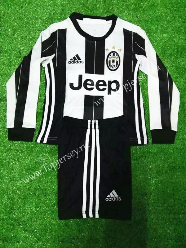 2016-17 Juventus Home White and Black LS Kids/Youth Soccer Uniform-Juventus| topjersey