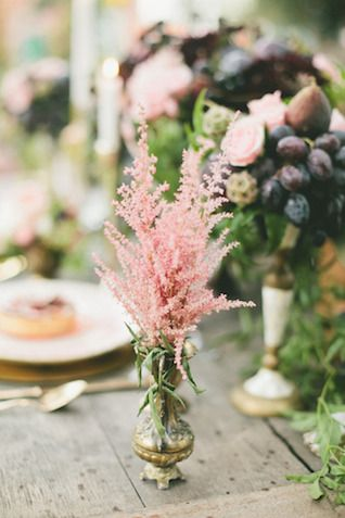 **love those little pink flowers** Bud vase centerepice | Onelove Photography | see more on: http://burnettsboards.com/2014/03/fig-gold-wedding-coolest-bar/