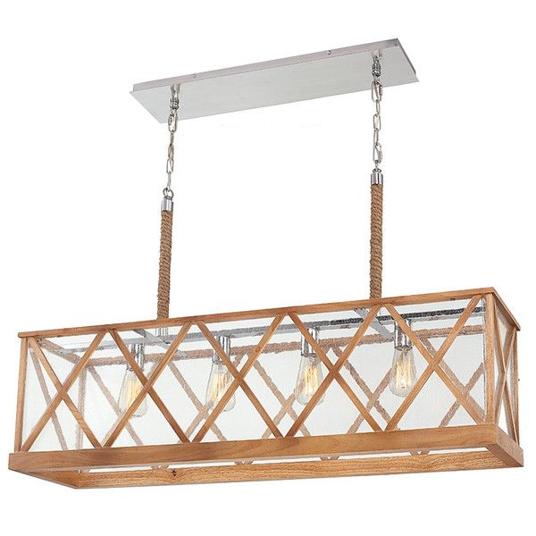 It's a toss-up whether we love the natural vibe of the metal-wood combo or its nautical nature more. Nevertheless, this Lumiere linear chandelier is a top conte