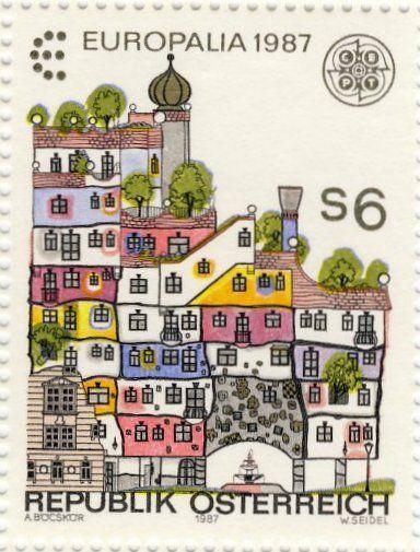 Europalia 1987 festival, Austrian postage stamp - hundertwasser house