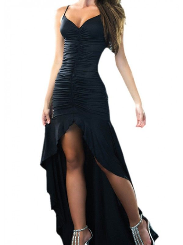Modern Dresses: Black Hollow Back Straped Ruched Asymmetric Party Dress