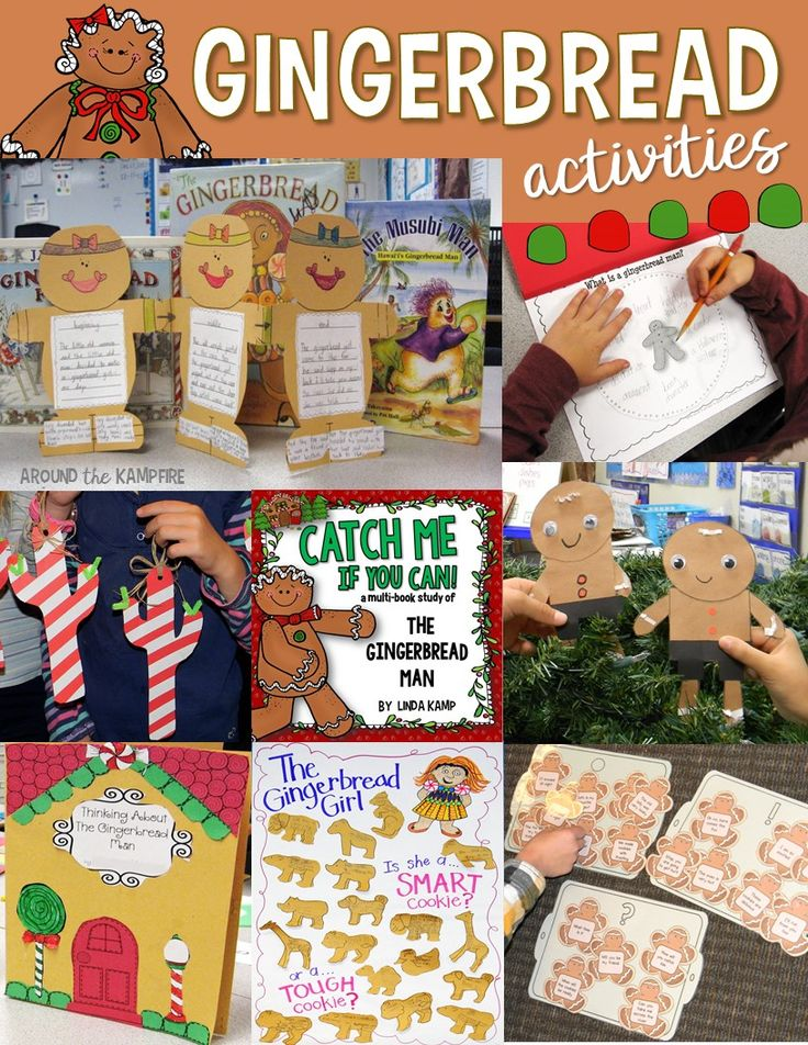 Gingerbread activities for 1st and 2nd grade with reading, writing, literacy centers and crafts.