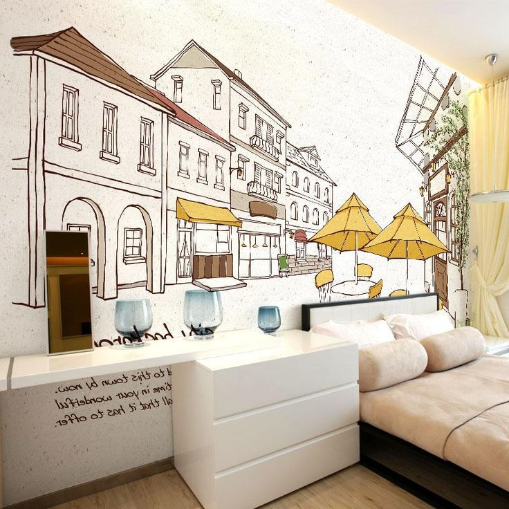Cartoon Wallpaper Modern Mural Self Sticking Personality Street Background Wall  Mural City Hand Painted Wallpaper Part 98