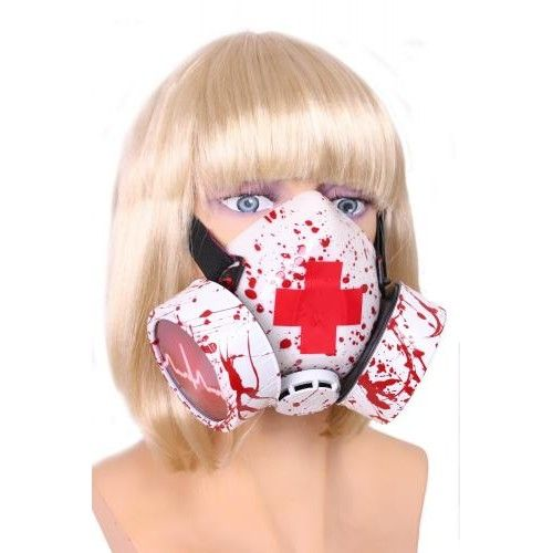 BLOOD SPATTERED RUBBER RESPIRATOR