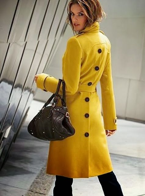 Beautiful Yellow Back Button Coat Coats Jackets