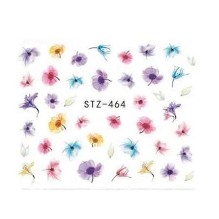 1 Sheets Elegant Image Flower Triangle Sticker Nail Art Water Decals Transfer DIY Temporary Tattoos Nail Decor Tips TRSTZ460-469