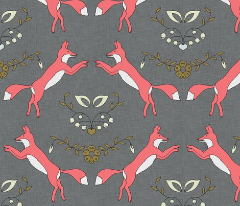 foxen_coral wallpaper by holli_zollinger - for the armoire redo?  I'm a sucker for foxes these days!  Comes in fabric too so maybe could make sheets with it...