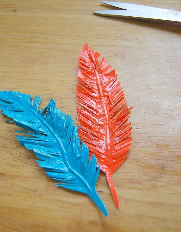 duct tape, duck tape. feathers, gift wrap, diy and do this in black and make a feather wreath for Halloween