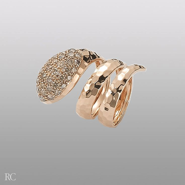 Roberto Coin Snake ring in 18k rose gold and brown diamonds.