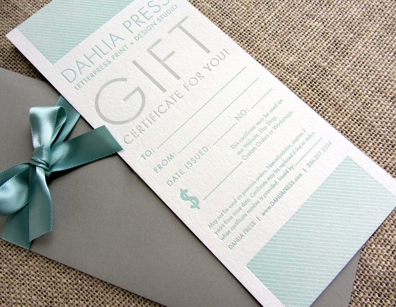 Letterpress Gift Certificates available on Dahlia Press!