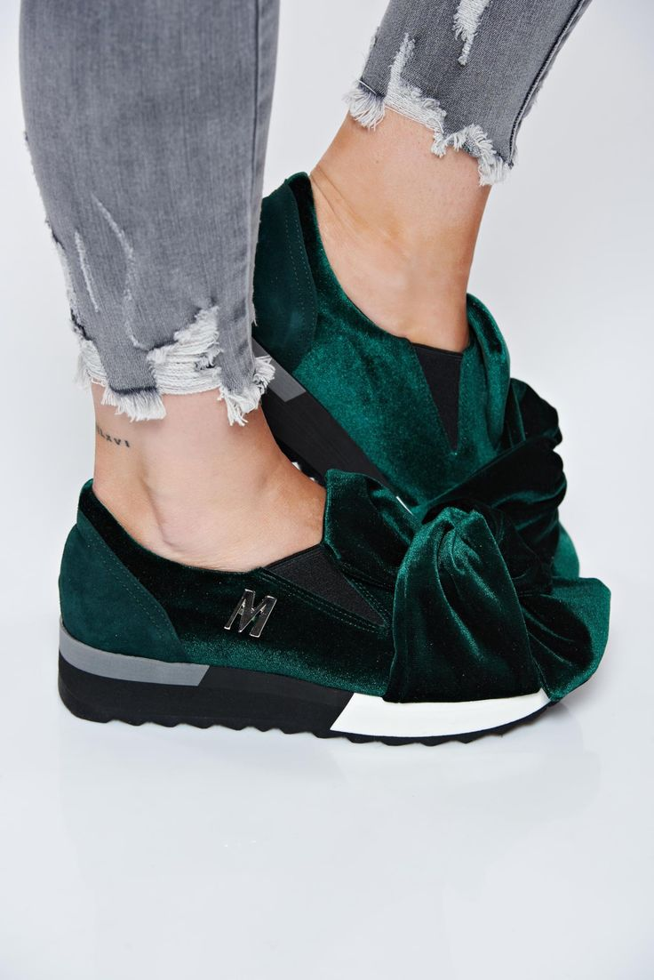 MissQ green sneakers casual velvet insole material: leather light sole, women`s sport shoes, velvet, insole material: leather, light sole, low heel