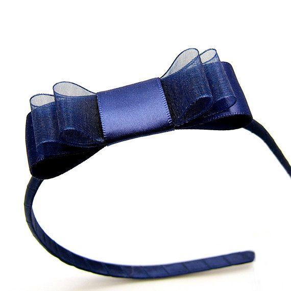 Navy Bow Headband Navy Satin Bow Headband Classic Preppy