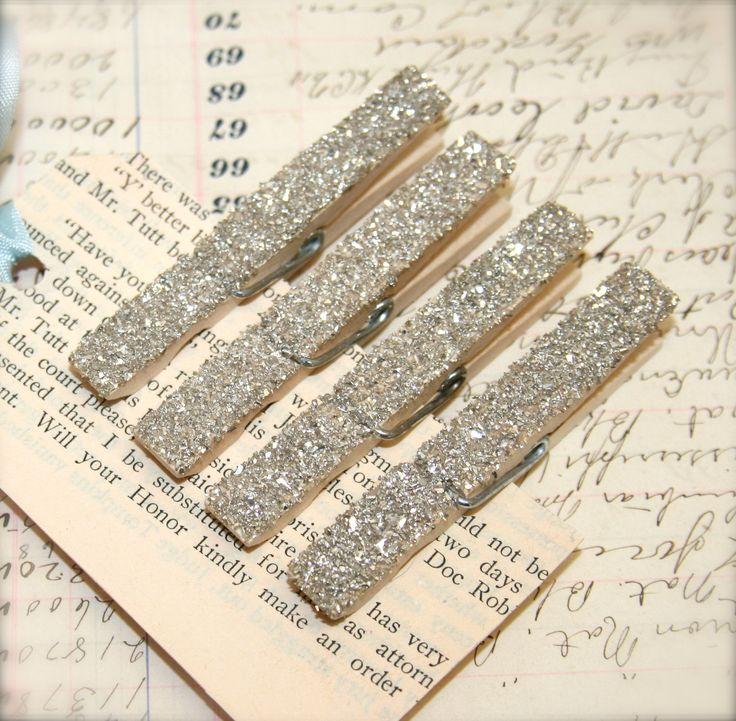 Genuine German Silver Glass Glitter Decorative Clothespins Magnets. $3.25, via Etsy.