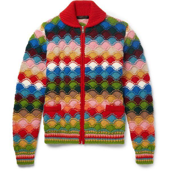 Prada Intarsia Shetland Wool Cardigan ($1,850) ❤ liked on Polyvore featuring men's fashion, men's clothing, men's sweaters, mens shawl collar cardigan sweater, old navy mens sweaters, prada mens sweater, mens cardigan sweaters and mens shawl collar sweater