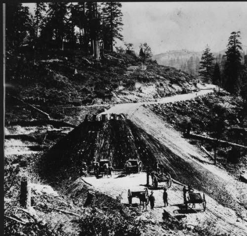 Horse-drawn carts being used for construction on a segment of Southern Pacific Railroad in a mountainous region, ca.1860. http://digitallibrary.usc.edu/cdm/ref/collection/p15799coll65/id/11584