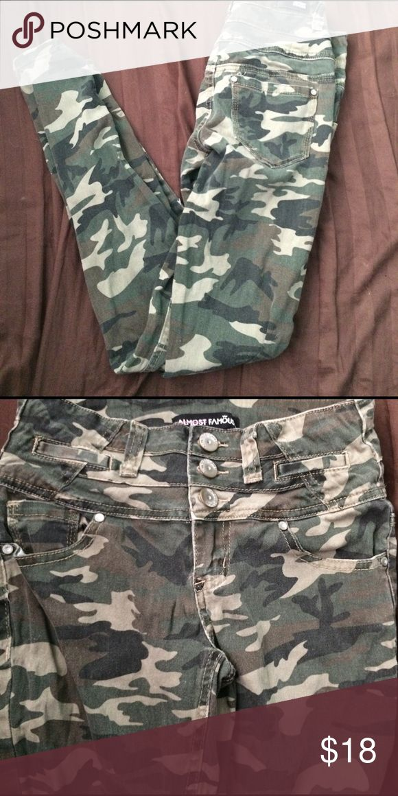 Army Printed Skinny Jean Army Printed skinny jeans only worn once! Negotiable price Almost Famous Jeans Skinny