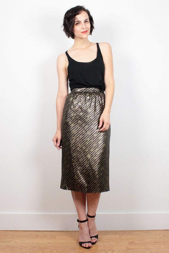 Vintage 80s Skirt Black Bronze Gold Metallic Diagonal Striped Midi Skirt High Waisted Skirt Glam Rock Pencil Skirt 1980s Skirt XS S Small by ShopTwitchVintage #1980s #80s #midi #skirt #pencil #metallic #gold #etsy #vintage