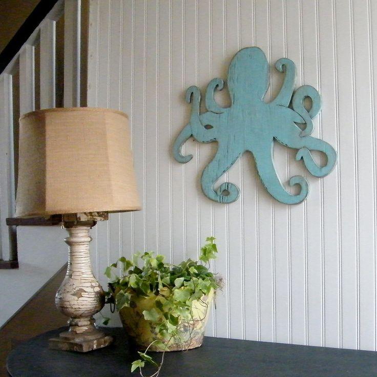 Wooden Beach Wall Decor : Octopus wooden sign beach coastal wall art