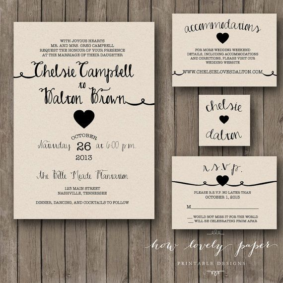 Printable Wedding Invitation Suite by HowLovelyPaper on Etsy, $25.00
