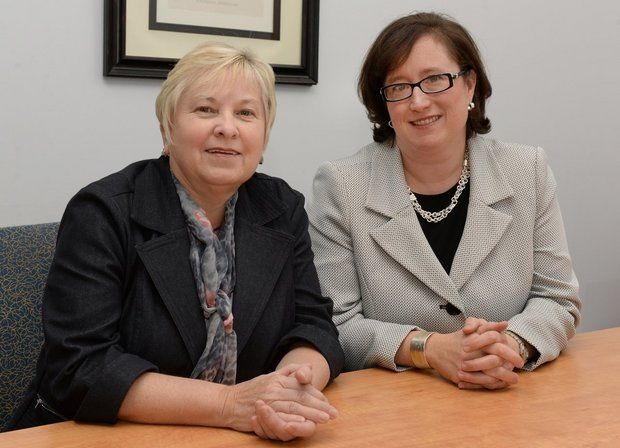 At United Personnel in Springfield, Carole Parlengas, chief financial officer, left, is shown with Tricia Canavan, president. United Personnel ranked No. 5 on the Commonwealth Institute's list of the Top 100 women-led businesses in Massachusetts. (MARK M. MURRAY / THE REPUBLICAN)
