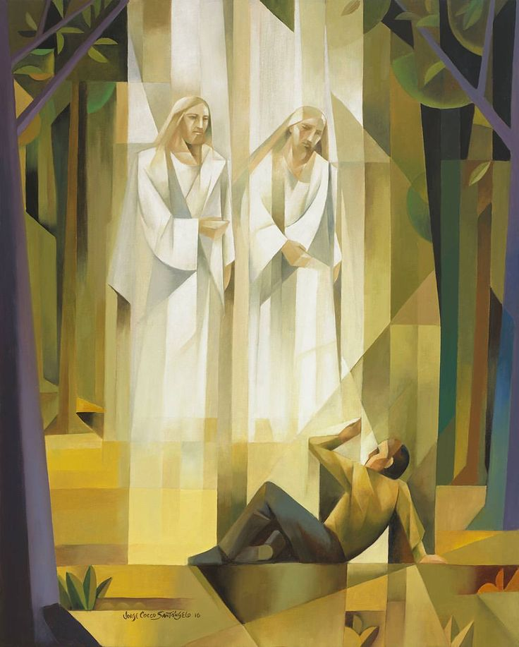 "Jorge Cocco fine art (@sacrocubism) on Instagram: ""Joseph Smith,  the prophet of the restoration.  The First Vision. #josephsmith #lds #jesuschrist…"""