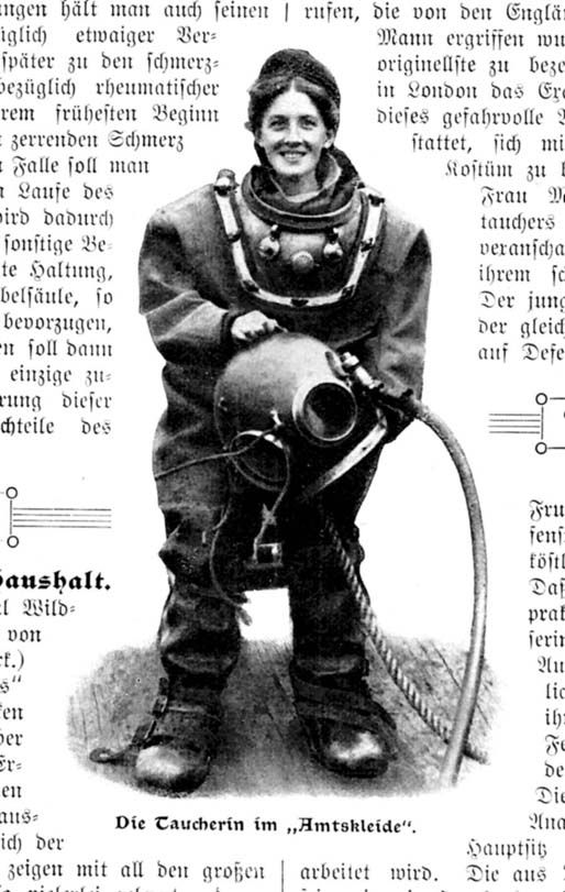 "Fig. 3.1.: Mrs. Mitchell, one of England's first female deep sea divers, before beginning her workday inspecting ships' hulls at the Tilbury Docks. (From ""Ein seltener Frauenberuf,"" Die Welt der Frau, no. 47 [1908]: 752.)"
